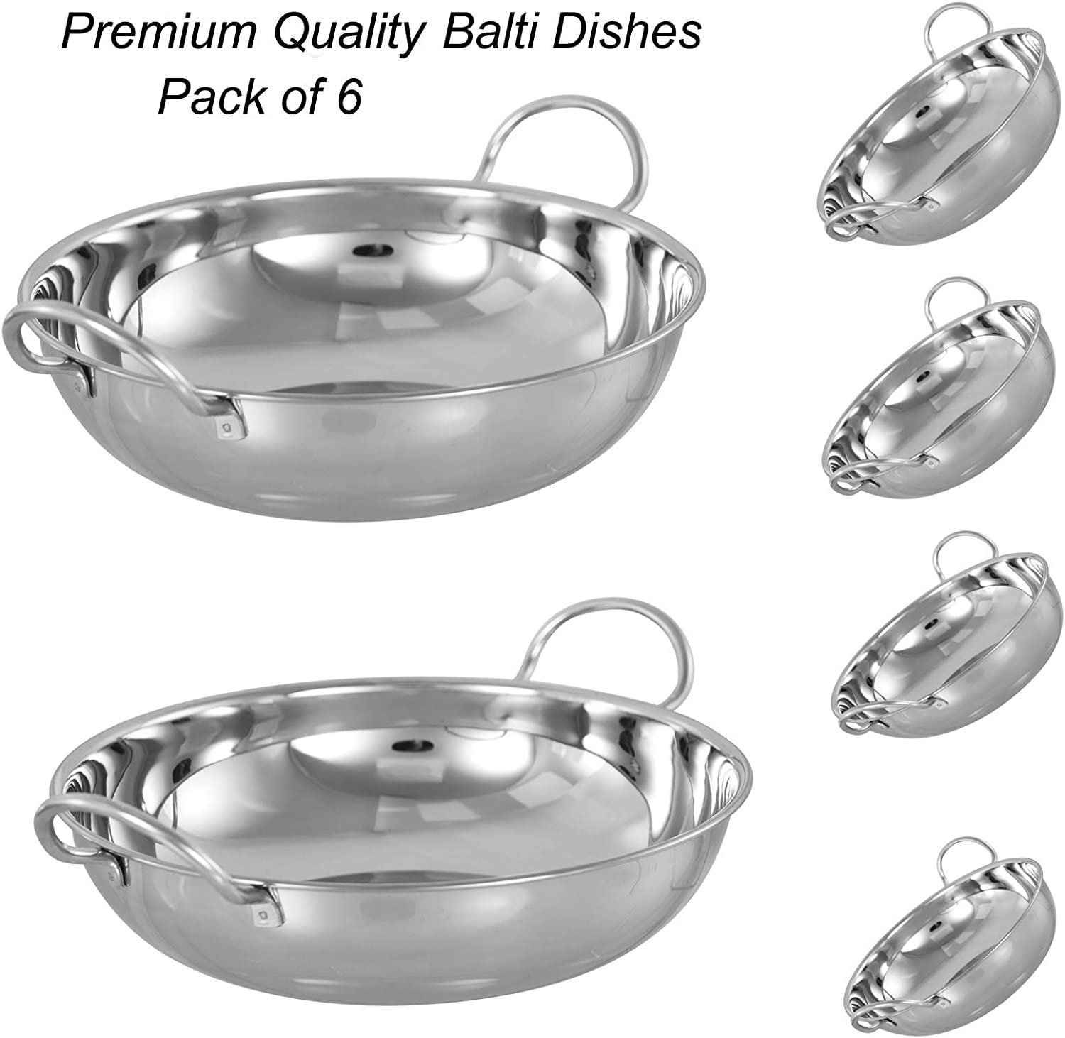 22 CM LONG 6 X Heavy Weight Stainless Steel Deep Oval Curry Dish BOWLS PLATES