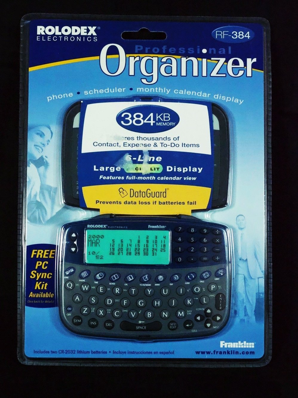 Rolodex Personal Electronic Organizer RF-384 384Kb by Franklin New Scheduler Backlight for low light conditions