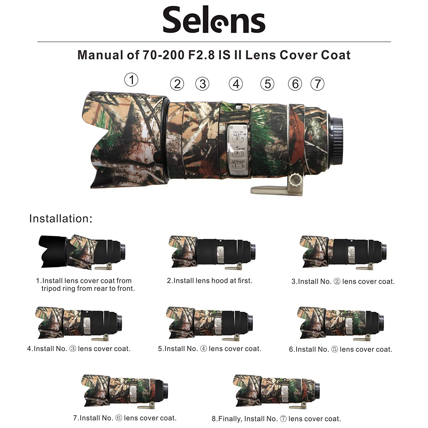 Mekingstudio Camera Lens Cover Protective for Sigma 150-600mm C Forest Brown Camo