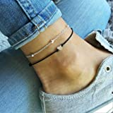 Yean Heart Anklet Love Ankle Bracelet Silver Fashion Foot Jewelry Chain Black for Women and Girls(Set of 2)