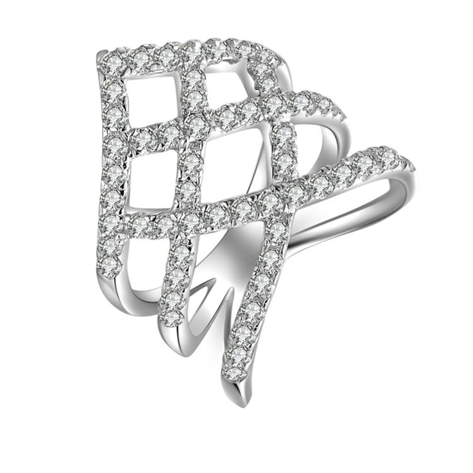 Beydodo Promise Ring Diamond Hollow Stackable Ring Round White Cubic Zirconia Size 6.5 Anniversary Gift
