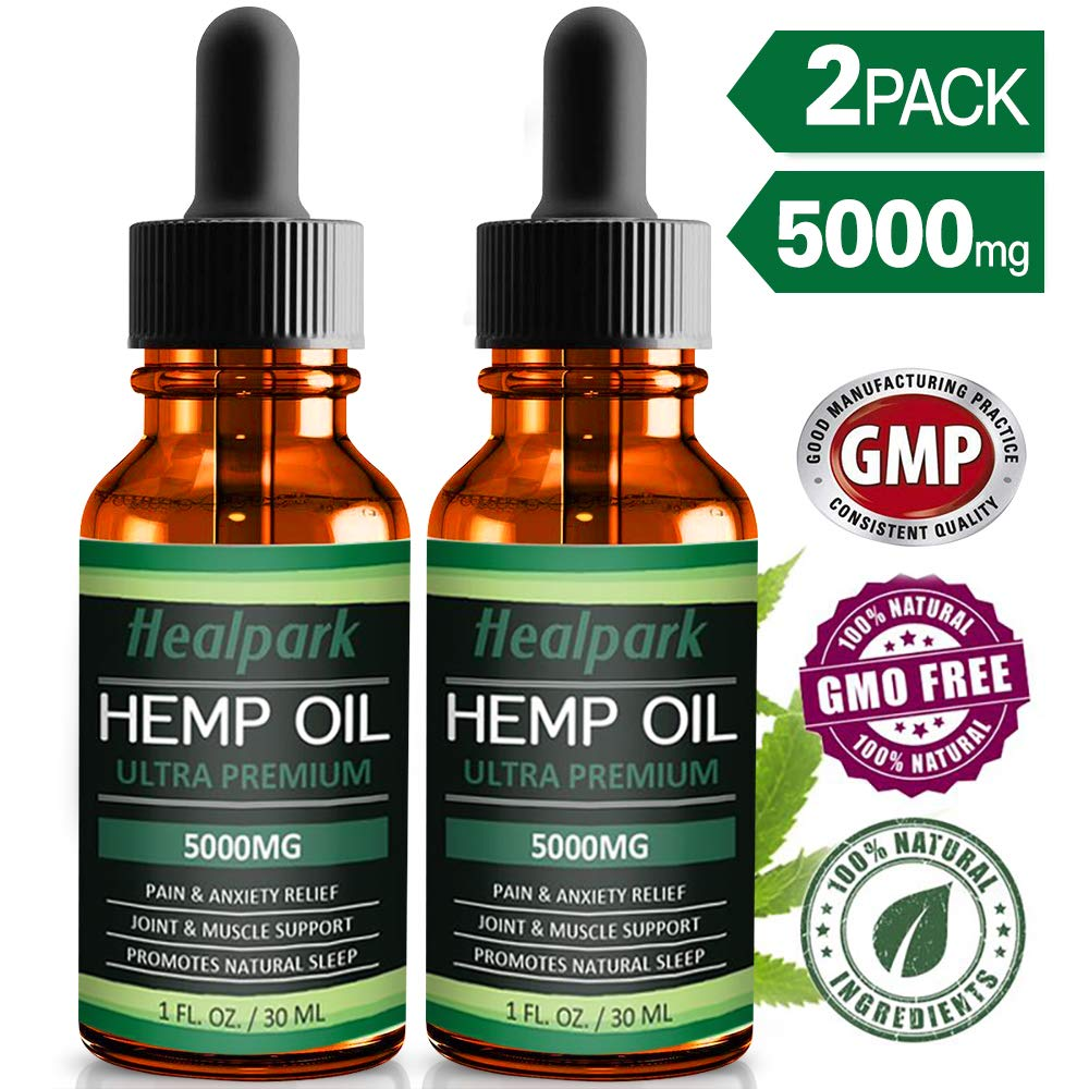 (2 Pack) Hemp Oil 5000mg for Pain Relief Anxiety - 100% Natural Organic Hemp Seed Extract, Rich Omega 3,6,9- Zero THC CBD Cannabidiol - Pure Hemp Oil Drops by Healpark