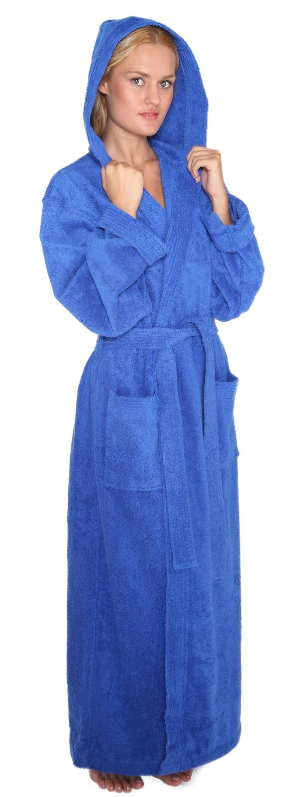 Arus Women's Pacific Style Full Length Hooded Turkish Cotton Bathrobe S/M Royal Blue