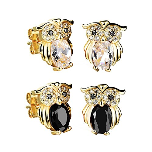 f103d4bb1 Amazon.com: Felicelia Classic Gold Plated Owl Cubic Zirconia Crystal Stud  Earrings For Women Girls Fashion Jewelry: Jewelry