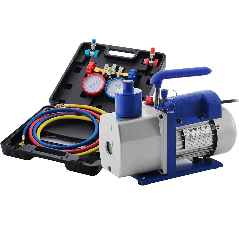 Mophorn Vacuum Pump Kit 3CFM 1/4HP Air Vacuum Pump HVAC A/C Air Conditioning Refrigerant Rotary Vane Single Stage Vacuum Pump with 3 Valve R22 R134 R410 AC Manifold Gauges Set (3CFM 1/4HP 3Value)