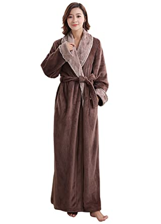Womens Robe Soft Plush Warm Flannel Spa Long Bathrobe for Ladies ... 5ea050c60ed9