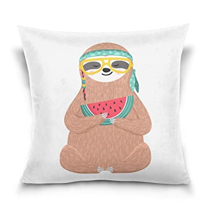 c221aa342e9d0 Amazon.com  Cooper girl Hipster Sloth Wearing Glasses Throw Pillow ...