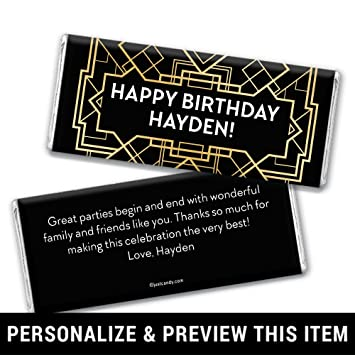 Amazon Com Personalized Great Gatsby Themed Birthday Chocolate Bar