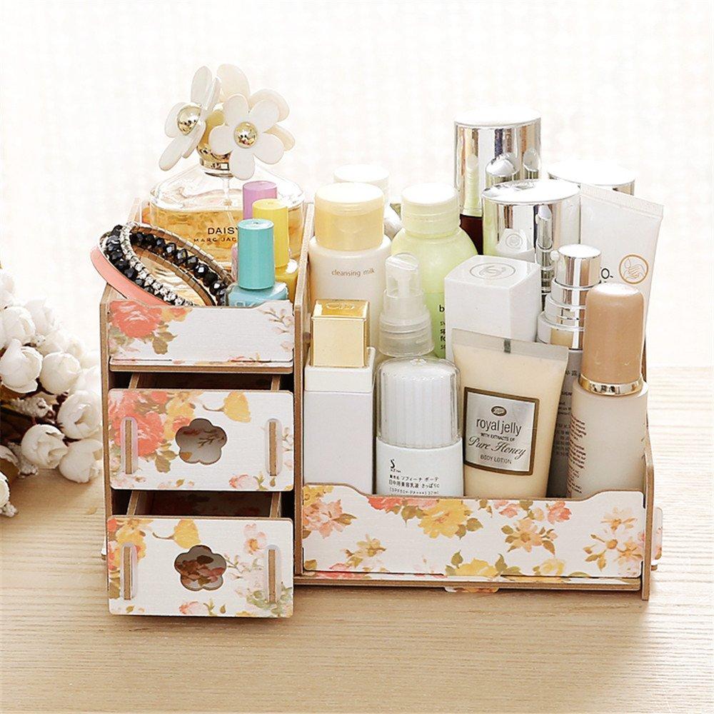 EVIICC Wood Cosmetic Storage Box Makeup Case Cosmetics Storage Stand Makeup Storage Box with 2 Drawers