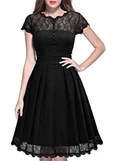 MIUSOL Womens Sleeveless Mesh Overlay Lace Swing Party Dress