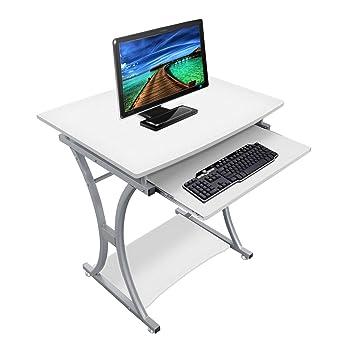 lyndan – Traverse blanco mesa de ordenador escritorio para Hogar y Oficina Muebles estación de trabajo