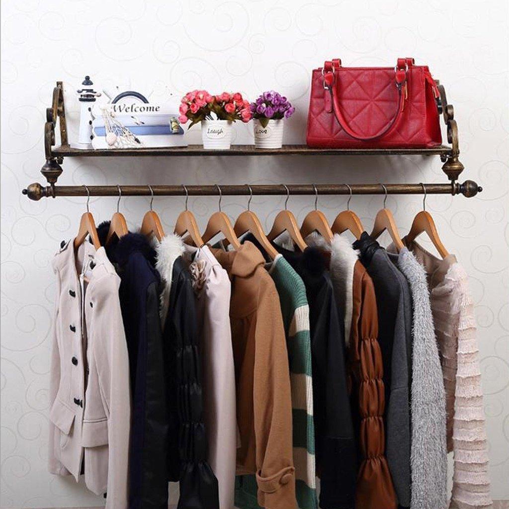 Kleiderablage Everyday Home Eisen-Wand-Mantel-Hut-Gestell-Feste Holz-Regale an der Wand befestigte Kombinationsgestelle Wohnzimmer-Schlafzimmer-Hallen-Aufhänger (Farbe : Bronze, größe : 80  28cm)