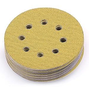 LotFancy 5-Inch 8-Hole 60 Grit Dustless Hook-and-Loop Sanding Disc Sander Round Sandpaper (60 Grits,Pack of 100)