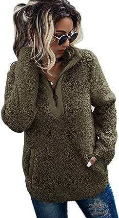 AQOTHES Womens Long Sleeve Loose Casual Zipper Color Block Sherpa Pile Fuzzy Soft Fleece Pockets Pullover Sweatshirt Outwear Jacket Coat
