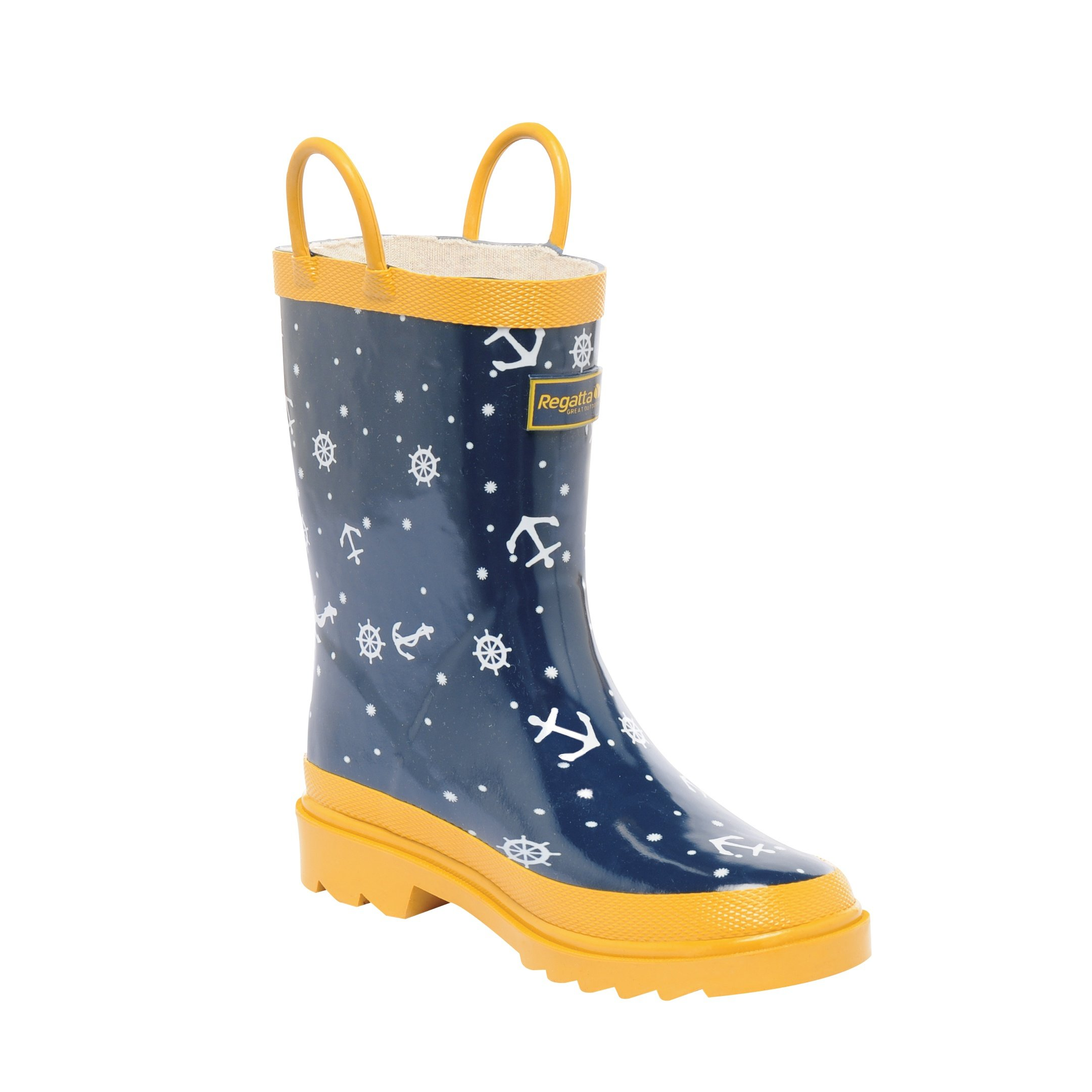 Regatta Great Outdoors Childrens/Kids Minnow Patterned Wellington Boots (US Child 9) (Persian Blue/Rumba Red)