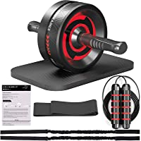 Ab Roller for Abs Workout, 8-in-1 Ab Roller with Resistance Bands, Knee Pad, Jump Rope, Core Sliders, Ab Wheel Roller…