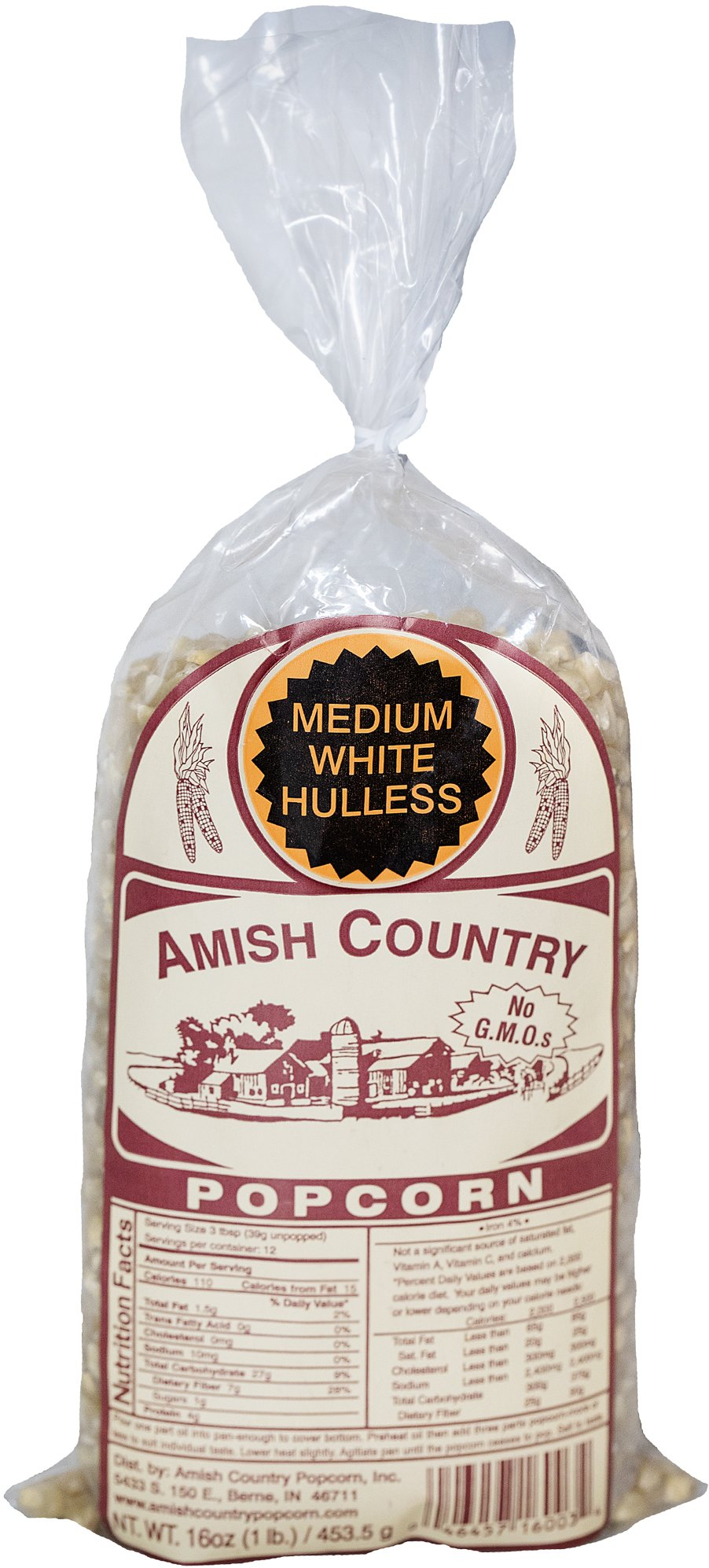 Amish Country Popcorn - Medium White Popcorn (1 Pound Bag) - Old Fashioned, Non GMO, Gluten Free, Microwaveable, Stovetop and Air Popper Friendly - Recipe Guide by Amish Country Popcorn (Image #1)