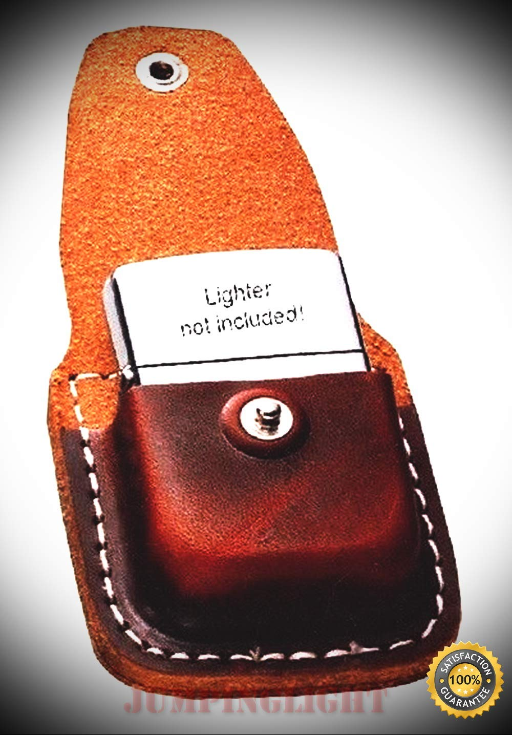 ZO17020 Lighter Pouch Brown Leather Attaches to Belt Clip Light - Premium Lighter Fluid (Comes Unfilled) - Made in USA!