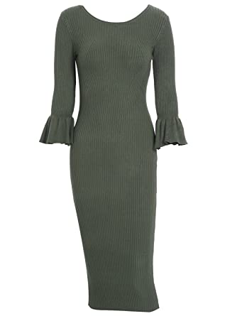 Simplee Women s 3 4 Sleeve Bodycon Sweater Dress Winter Warm Knitted Midi  Dress Army Green 5f1f840c7