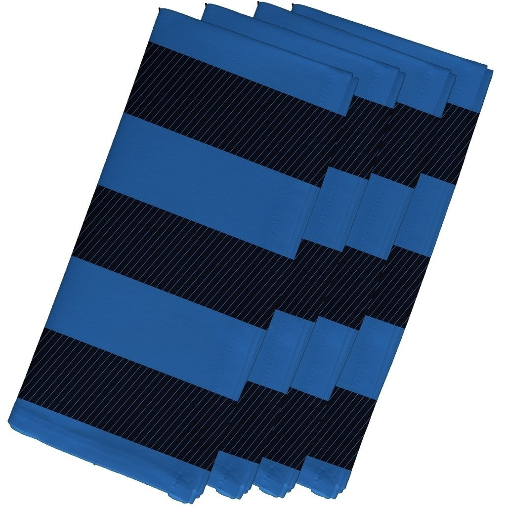 4 Piece Navy Blue Blue Napkin (19''), Contemporary Style, Cotton Material, Stripe Pattern, Decorative Table Top Napkin Type, Two-Tone Stripe, Suitable For Everyday, Special Occasions, Dark Royal Blue by Patriot