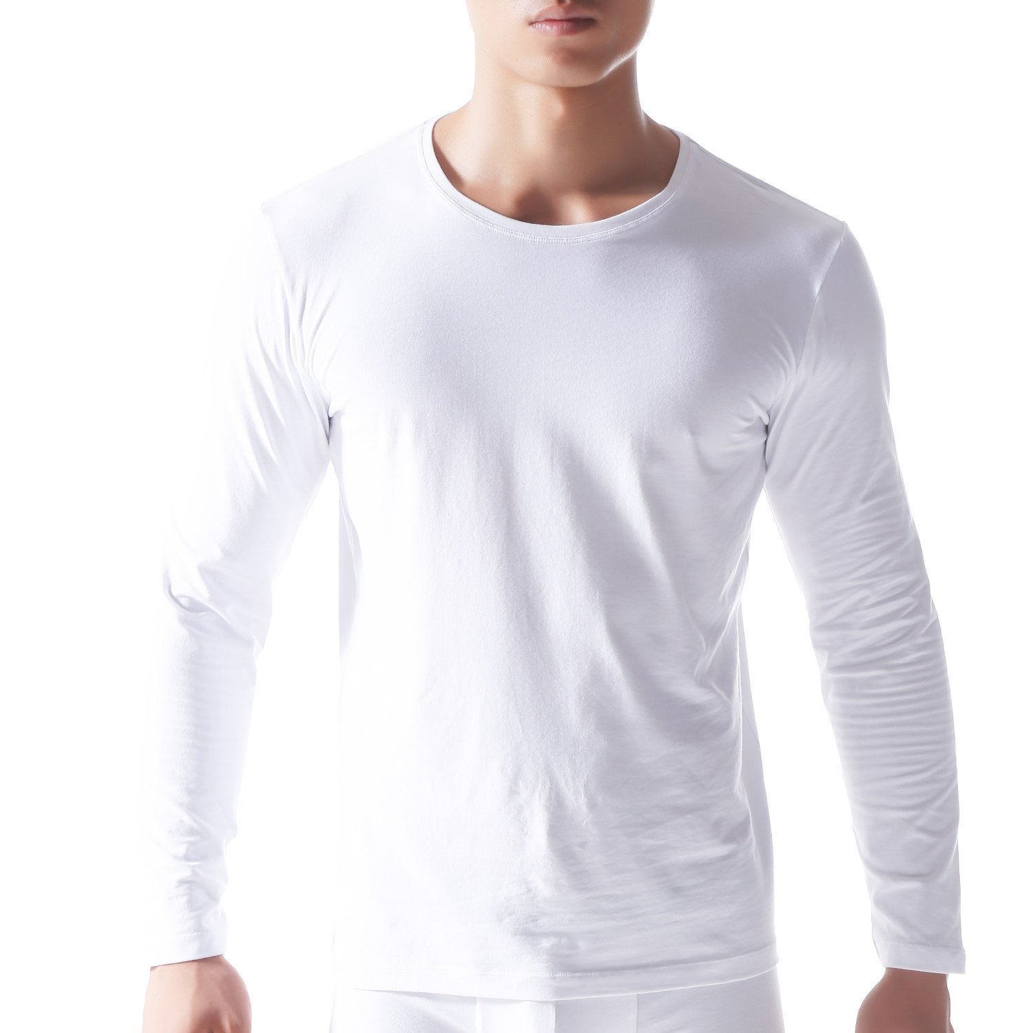 David Archy Men's 2 Pack Long Sleeve Crew Neck Soft Cotton Light Weight Undershirts T-Shirts