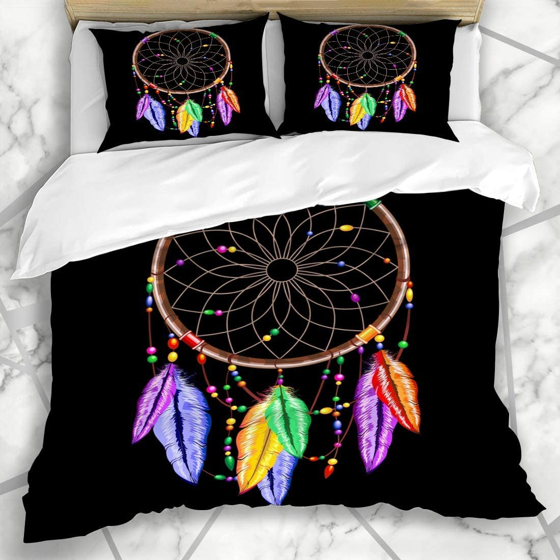 Duromhua Bedding Duvet Cover Set Abstract Ancient Dream Catcher Rainbow Feathers American Beads Cordage Culture Hoop Indian Microfiber New Three Piece Set Of Various Patterns 135 200 Amazon Co Uk Kitchen Home