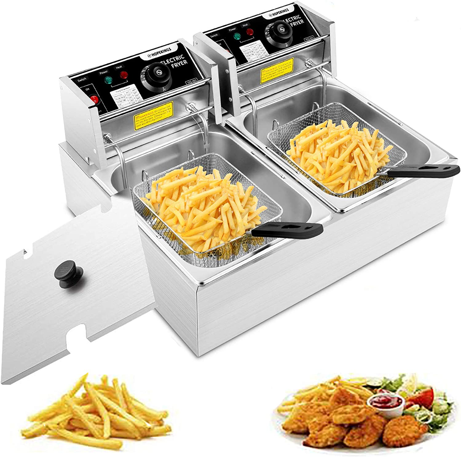 Hopekings Deep Fryer with Baskets, 12.7QT Stainless Steel Commercial Deep Fryer with Thermostat, for Turkey, French Fries, Donuts