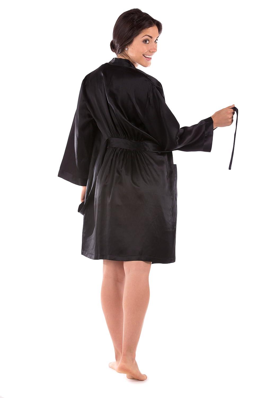 30eaacdb781577 TexereSilk Women s Short 100% Silk Bathrobe - Luxury Robe (Midnight Jewel)  at Amazon Women s Clothing store