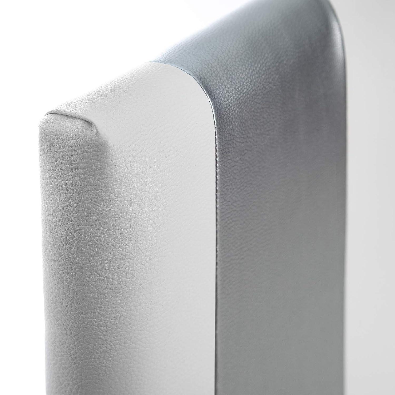 SUENOSZZZ - Cabecero Ohio Líneas Verticales (Cama105) 115x120 cms. Color Blanco y Plata: Amazon.es: Hogar