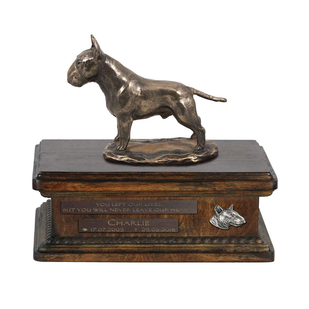 Bull Terrier 2, Urn for Dog Ashes Memorial with Statue, Pet's Name and Quote ArtDog Personalized