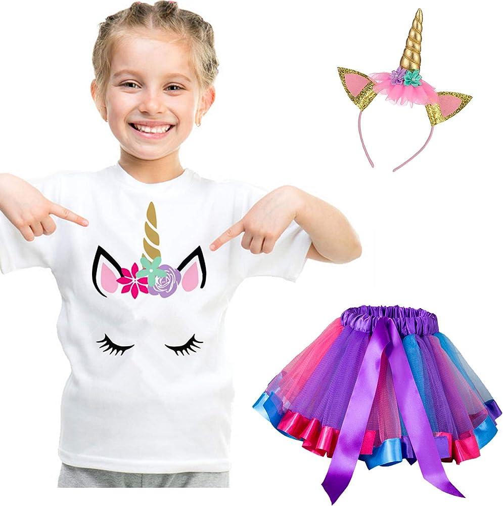 NNJXD Vestido de Unicornio para niña pequeña, Camiseta de algodón ...