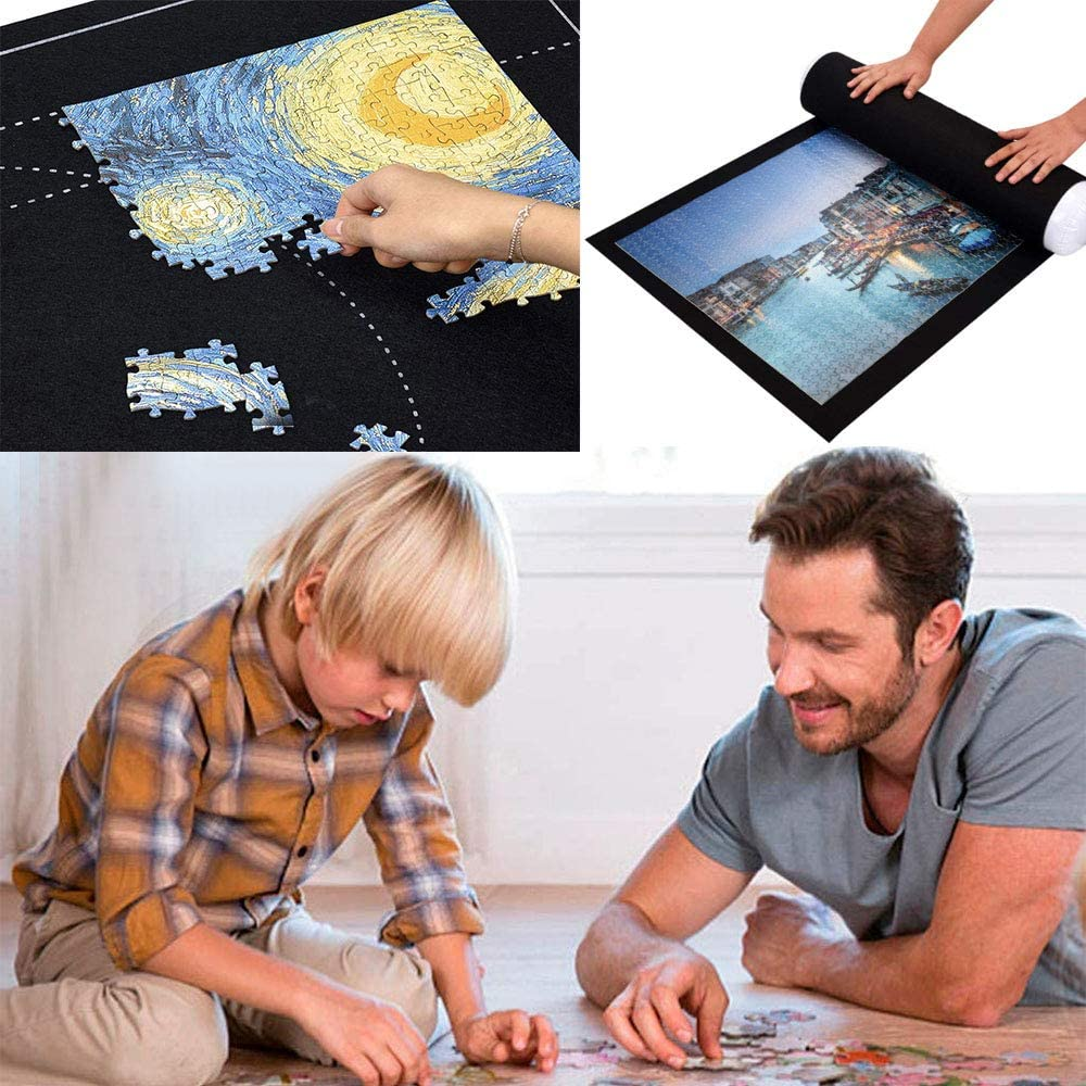 HUOHUOHUO Puzzle Roll Storage Mat,Puzzleunterlage Puzzlematte Puzzlerolle,Puzzleunterlage 2000 Teile,Tragbare Puzzles Mat,Filz Puzzle Rolle Matte,Matten Puzzles Decke,Jigsaw Puzzle Mat