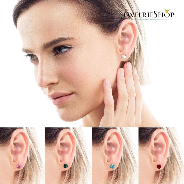 Blesiya 20 Pairs Imitation Pearl Crystal Matte Ball Ear Stud Hypoallergenic