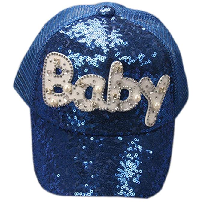 QinMM Gorra de Béisbol de Las Lentejuelas del bebé Niños Niñas, Sombrero Ajustable del Hip