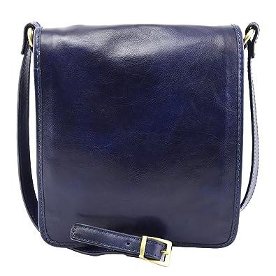 64b9f51b43dbd Echtes Leder Umhängetasche Für Herren Farbe Dunkelblau - Italienische  Lederwaren - Herrentasche