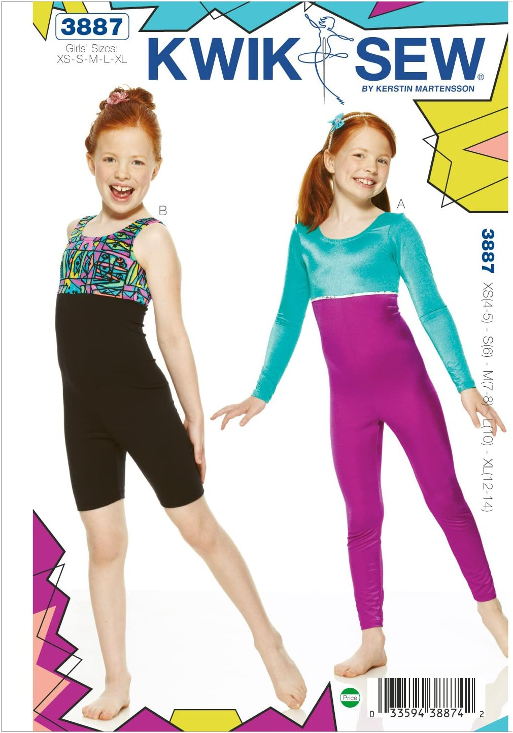 Kwik Sew K3887 Unitard Sewing Pattern, Size XS-S-M-L-XL