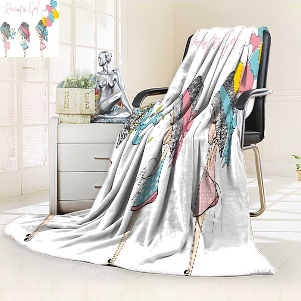 Microfiber Fleece Comfy All Season Super Soft Cozy Blanket cute girl for Bed Couch and Gift Blankets(90''x 70'')
