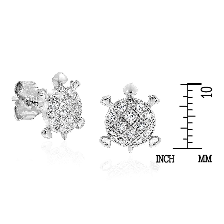Dazzling Marine Turtle Cubic Zirconia .925 Sterling Silver Stud Earrings