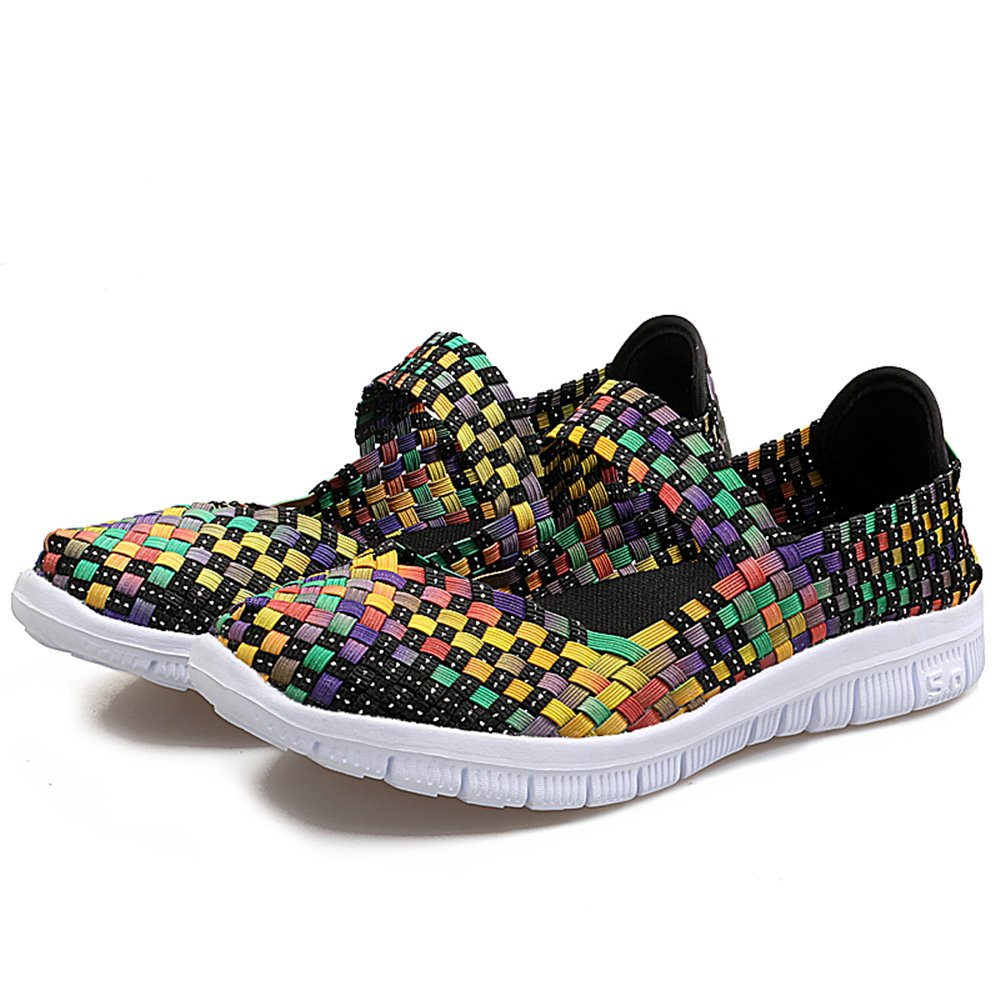 YMY Women's Woven Sneakers Casual Lightweight Sneakers - Breathable Running Shoes B07DXQ1VD2 US B(M) 7.5 Women|Yellow