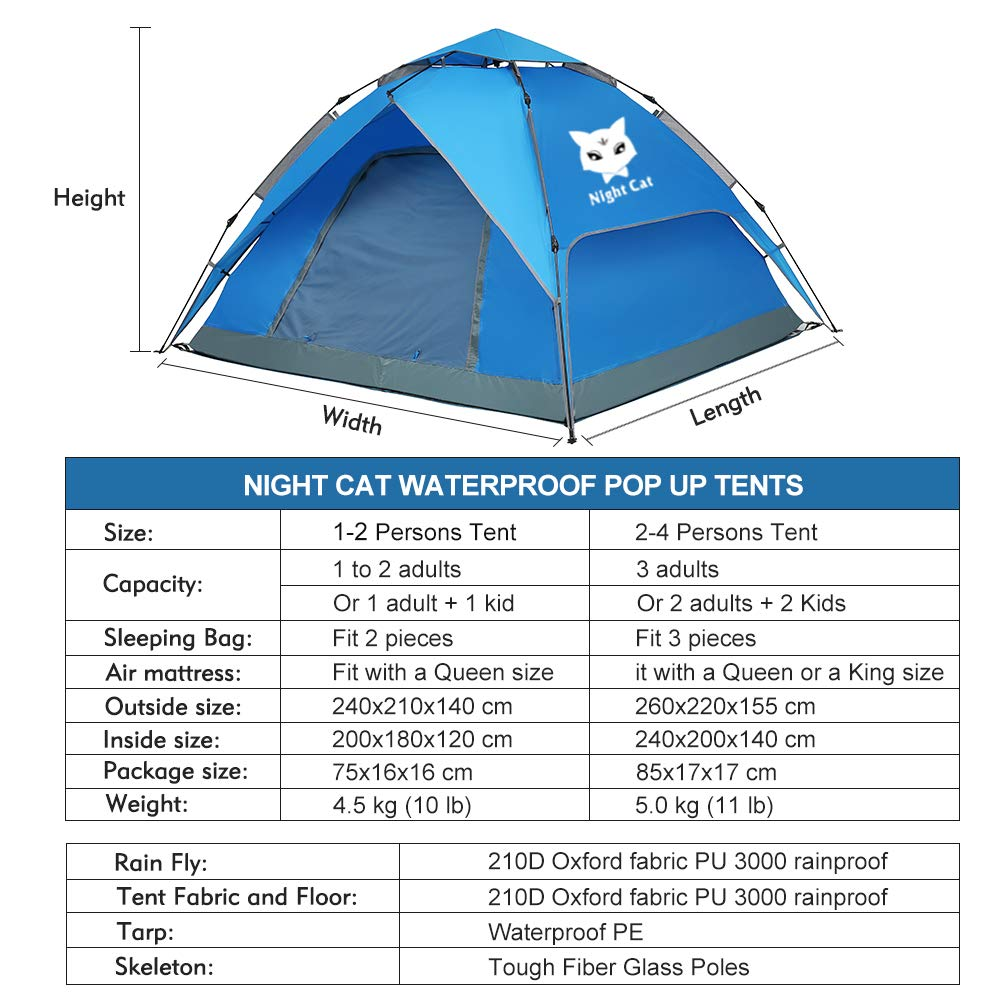 Night Cat Waterproof Camping Tent 3 4 Person Instant Pop Up Automatic Dome Holiday Easy Set Up Tent for Outdoor Hiking Double Layer