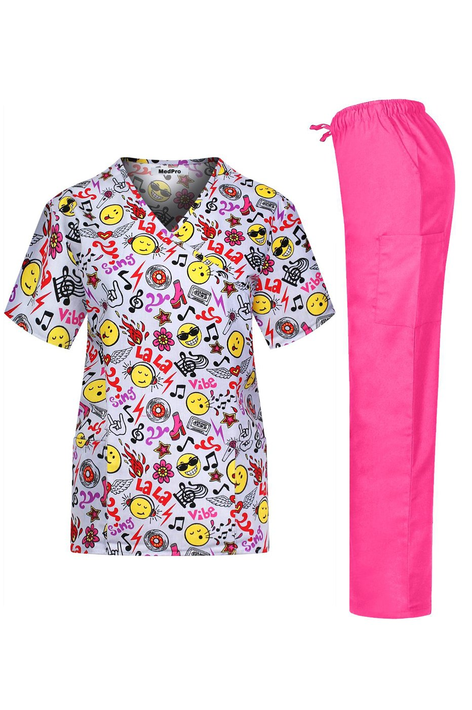 MedPro Women's Medical Scrub Set with Printed Top and Cargo Pants Yellow Pink 2XL(9003-1188GR)