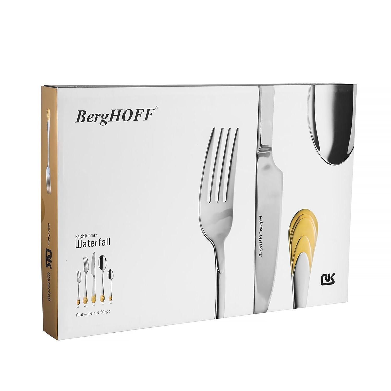 Berghoff - Cubertería con Acabado Espejo para Cascada (6 Personas, Acero Inoxidable, 47,5 x 33,5 x 5,5 cm), Color Plateado: Amazon.es: Hogar