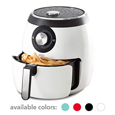 Dash DFAF455GBWH01 Deluxe Electric Air Fryer + Oven Cooker with with Temperature Control, Non Stick Fry Basket, Recipe Guide + Auto Shut Off Feature, 6 qt, White