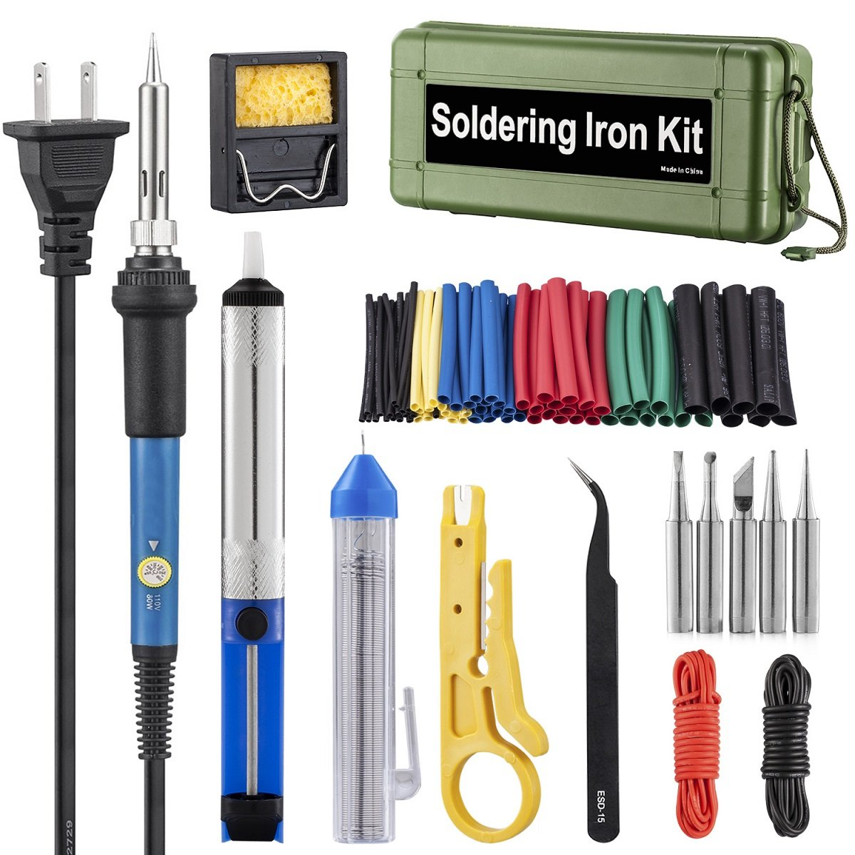 Soldering Iron Kit Electronics, 60W Adjustable Temperature Welding Tool, 5pcs Soldering Tips, Desoldering
