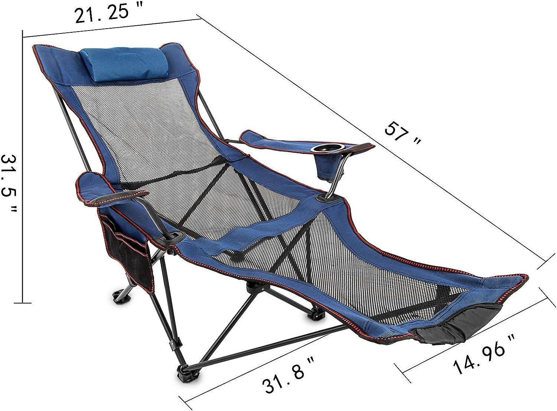 Moracle Silla de Campamento Plegable con Reposapi/és Silla de Sal/ón de Malla con Portavasos Bolsa de Almacenamiento Silla de Campamento Plegable