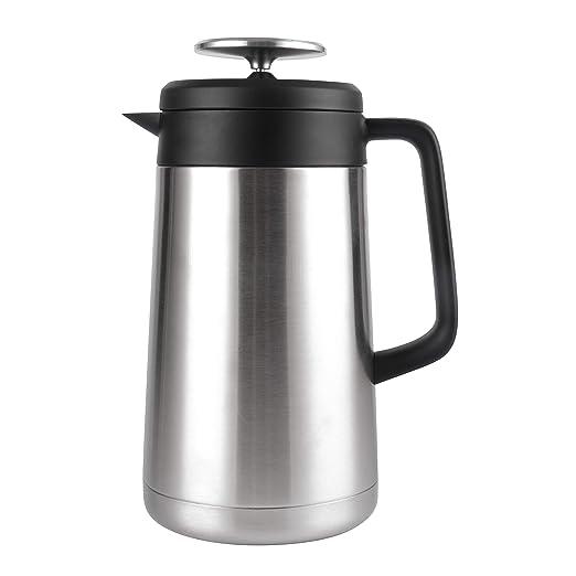 Cresimo cafetera de prensa francesa de acero inoxidable grande (1 litro), doble pared, aislamiento térmico, retención de calor al vacío, cafetera de ...