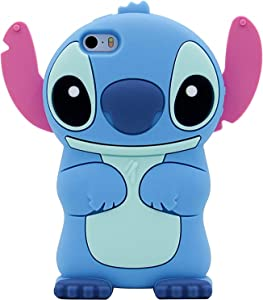 Blue Stitch Case for iPhone SE/ 5/ 5C/ 5S, FunTeens 3D Cartoon Animal Cute Funny Chic Soft Silicone Rubber Kawaii Cover,Animated Character Cool Shell for Kids Child Teens Girls Boys Guys(i5/SE)