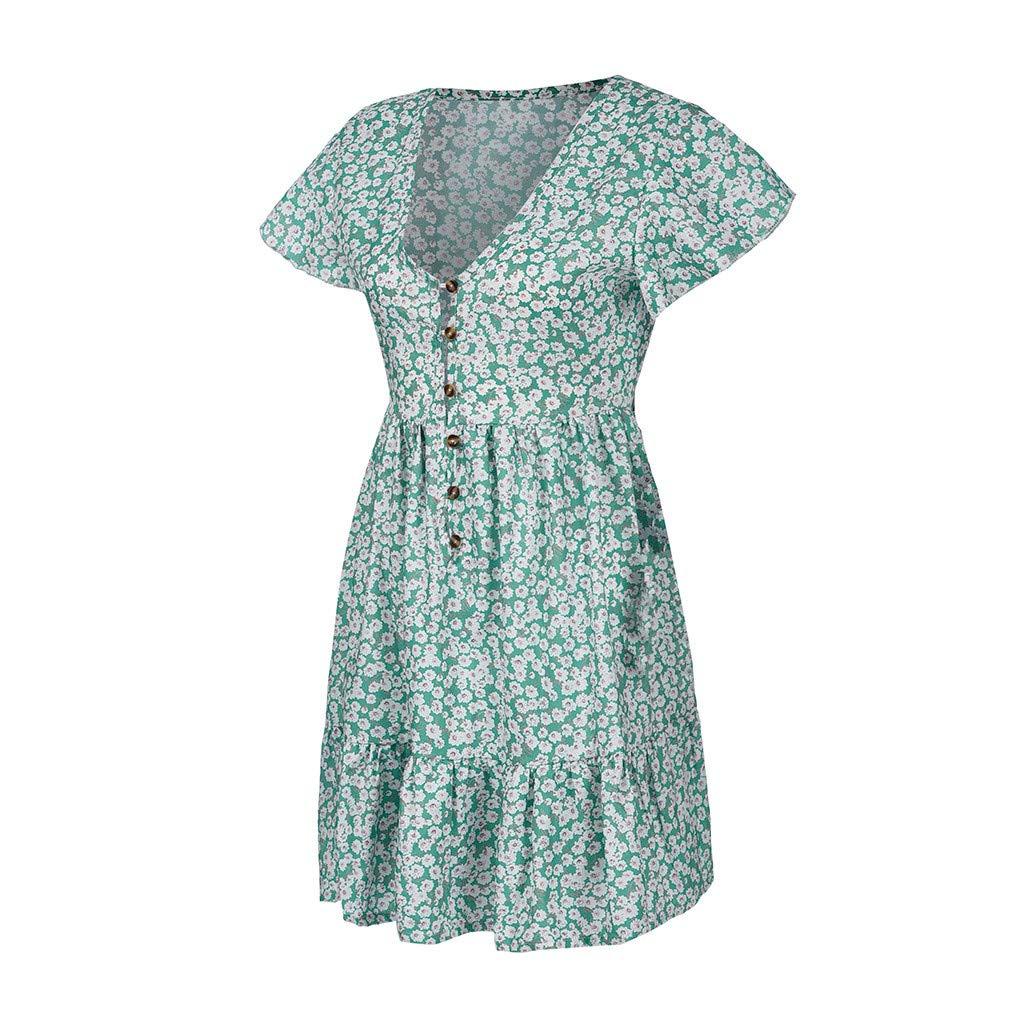 Shusuen Womens Plus Size Short Button-Front Crinkle Dress Floral Print Flowy Party Dress