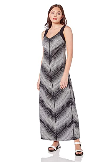 e8301b3388 Roman Originals Womens Monochrome Chevron Maxi Dress - Ladies Holiday  Daywear Casual Weekend Cruise Summer Boho Jersey Sundress Long Sleeveless  Dresses - ...