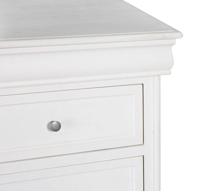 Bianco Esidra Comodino 4 1 cassetto a Scomparsa 53 x 83 x 34 cm Legno